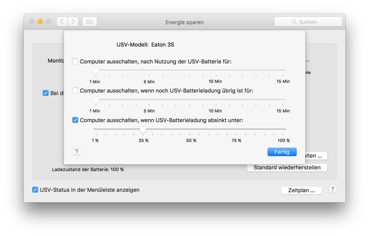 OSX Systemeinstellung Energie sparen USV